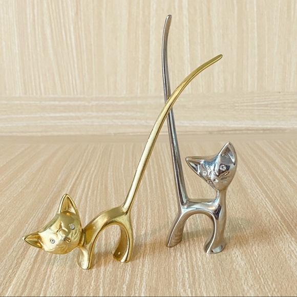 Set of 2 Silver and Gold Toned Cat Ring Holders